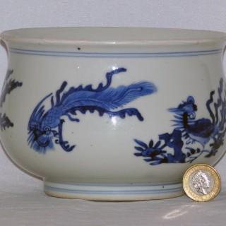 Kangxi / late Transitional Blue and White Porcelain Censer