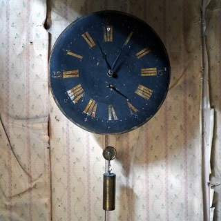 A 19thC English Provincial Painted Weight-Driven Hook & Spike Wall Clock