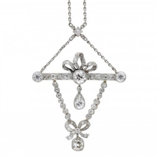 Edwardian diamond pendant, English, circa 1910.