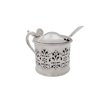 Antique Victorian Sterling Silver Mustard Pot with Spoon 1886