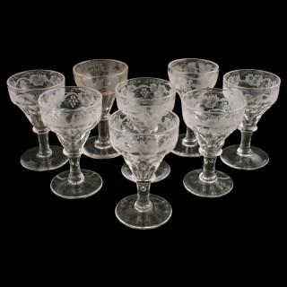 Eight Victorian Engraved Liqueur Glasses