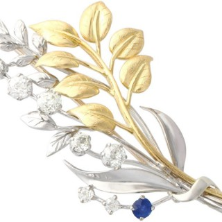 0.22 ct Sapphire and 1.82 ct Diamond, 18 ct Yellow and White Gold Spray Brooch - Antique Circa 1930