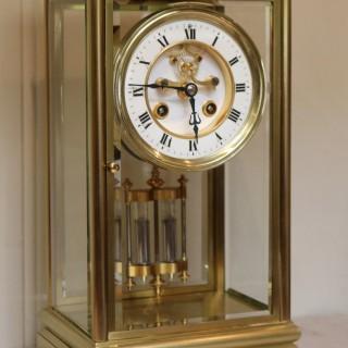 Bell Striking Brass Four Glass Clock