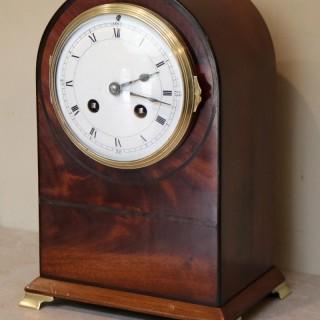 Edwardian Mahogany Arch Top Mantel Clock.