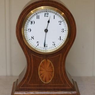 Edwardian Oak and Inlay Balloon Clock