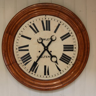 Rare 33 inch Industrial Oak Wall Clock