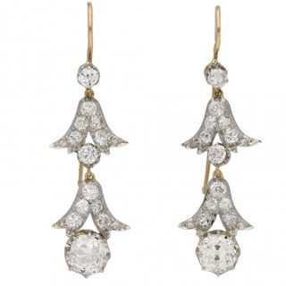 Edwardian diamond drop earrings, circa 1910.