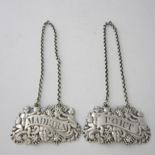 Scottish Antique George III Sterling Silver Wine Labels - 1818