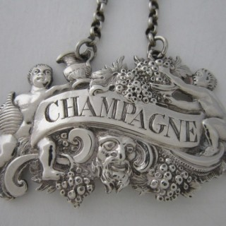 Cast Antique George II Sterling Silver Champagne Wine Label - c1750