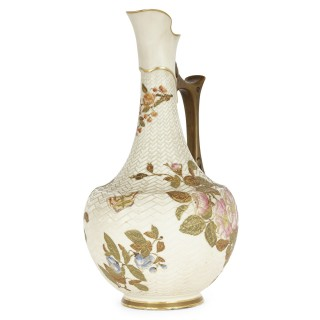 Japanese style English porcelain ewer by Royal Worcester