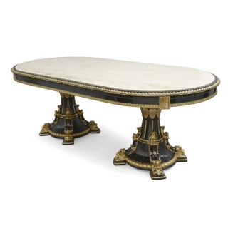 Italian marble, ebonised and gilt wood dining table