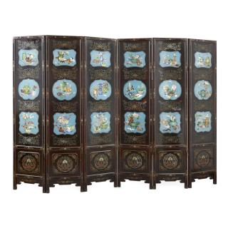 Chinese folding lacquer screen mounted with cloisonné enamel panels