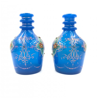 A PAIR OF ROYAL BLUE OPAQUE JEWELLED AND ENAMELLED BOHEMIAN GLASS HOOKAH BASES WITH PORTRAITS OF SULTAN MOZAFFAR AL-DIN SHAH QAJAR DATED 1315 HIJRI