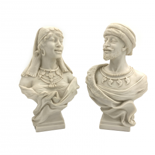 Pair of Late 19th Century marble Busts Featuring Orientalist Figures