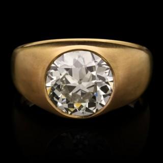 3.61carat Old European Cut Diamond & 22k Gold Gypsy Ring by Hancocks