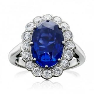 5.84carat Fine Sapphire & Diamond Cluster Ring by Hancocks