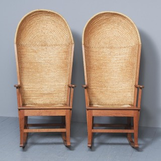 Pair of Large Oak Hooded Rocking Orkney Chairs by Reynold Eunson