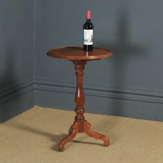 Small Antique English Victorian Mahogany Tripod Circular Pedestal Wine Table (Circa 1850)