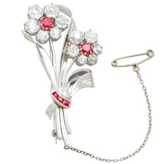 6.85 ct Diamond and 1.10 ct Ruby, Platinum Brooch - Antique and Vintage