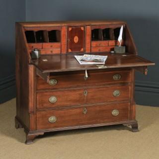 Antique English 18th Century Georgian Oak & Mahogany Office Bureau Desk (Circa 1780)