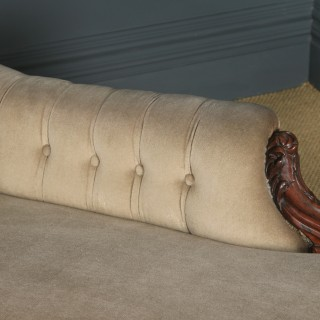 Antique English Victorian Rosewood Upholstered Chaise Longue Sofa Couch (Circa 1850)