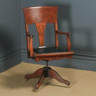 Antique English Edwardian Art Nouveau Ash & Birch Revolving Office Desk Arm Chair (Circa 1910)
