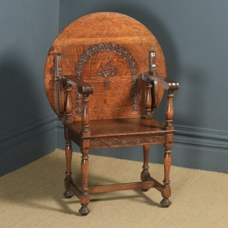 Antique English George V Carved Oak Monks Seat Arm Chair Table (Circa 1910)