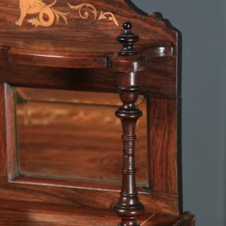 Antique English Edwardian Rosewood Inlaid Sheet Music Display Cabinet (Circa 1910)