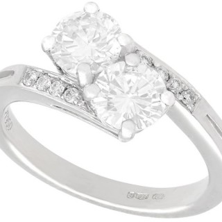 1.56ct Diamond and Platinum Twist Ring - Vintage and Contemporary