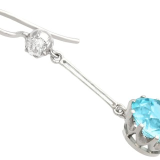 7.80 ct High Zircon and 0.29 ct Diamond, 18 ct White Gold Drop Earrings - Antique Circa 1910