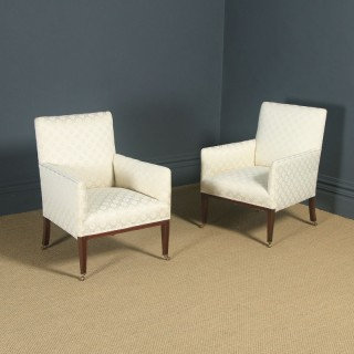 Antique English Pair of Edwardian Sheraton Style Upholstered Mahogany Inlaid Armchairs (Circa 1901)