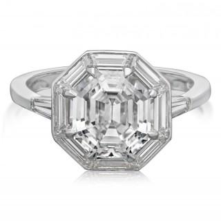 2.63carat Octagonal Step-Cut Diamond Ring with Baguette Diamond by Hancocks