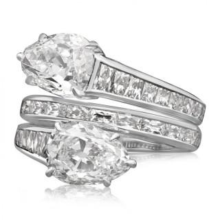 Stunning Pear Shaped Diamond Cross Over Ring by Hancocks