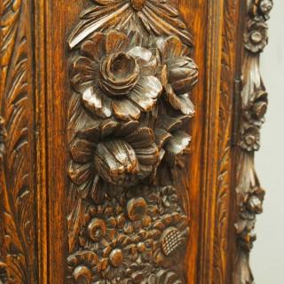 Flemish Carved Oak Grandfather Clock