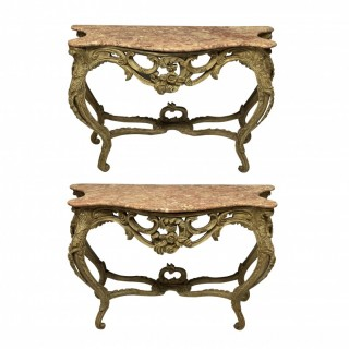 A PAIR OF LOUIS XV STYLE PAINTED CONSOLE TABLES