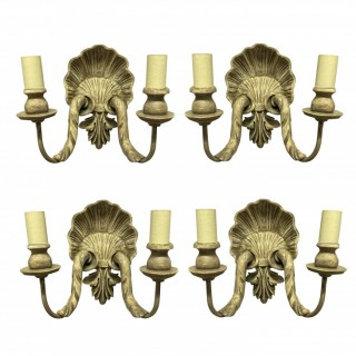 A SET OF FOUR CARVED & PAINTED SHELL WALL SCONCES