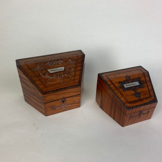 Two satinwood envelope stationary boxes