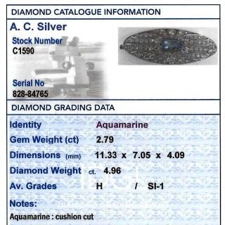 2.79ct Aquamarine and 4.96ct Diamond, 18ct White Gold Brooch - Antique French Circa 1910