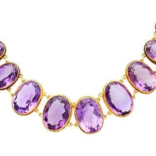 274.91ct Amethyst and 18ct Yellow Gold Rivière Necklace - Antique Victorian