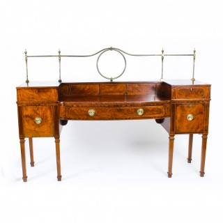 Antique Flame Mahogany and Satinwood Inlaid Sideboard Ca 1820 19th C