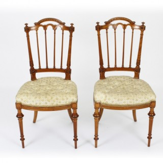 Antique Pair Victorian Satinwood Sheraton Revival Side Chairs C1870 19th C