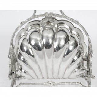 Antique Victorian Silver Plated Shell Biscuit by Box Fenton Brothers 19thC