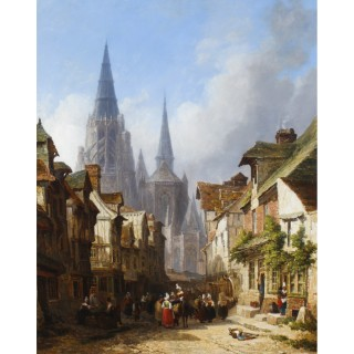 Antique Cityscape Oil Painting of Rouen by Caleb Robert Stanley 19th C