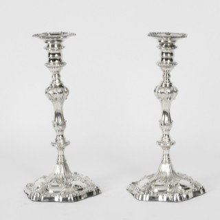 Antique Victorian Pair Rococo Silver Plated Candlesticks 19th C
