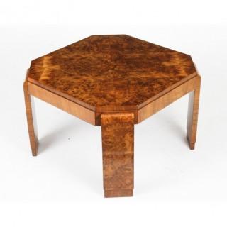 Antique Art Deco Burr Walnut Coffee Table Circa 1920