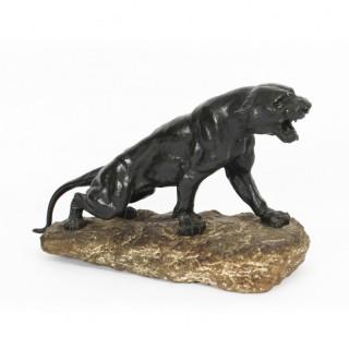 Antique Large Art Deco Bronze Panther by Thomas François Cartier Circa 1920