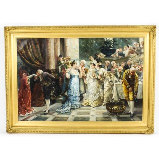 Antique Oil Painting by Albert Ludovici Jnr 'The Get Together' Dated 1877