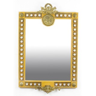 Antique French Gilded Mirror Limoges Plaques Mid 20th Century 119x78cm