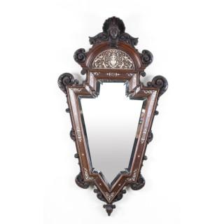 Antique Italian Renaissance Walnut & Inlaid Mirror 19th Century 108x60cm