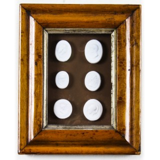 Antique Maple framed Collection Grand Tour Classical Intaglios Early19th C